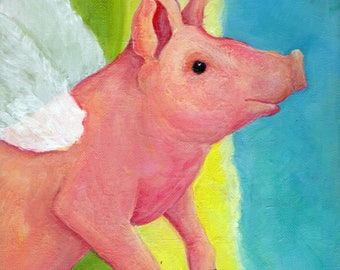 Original Flying Pig acrylic painting canvas art, whimsical pig painting gift, when pigs fly, 9 x 12 canvas pig with wings