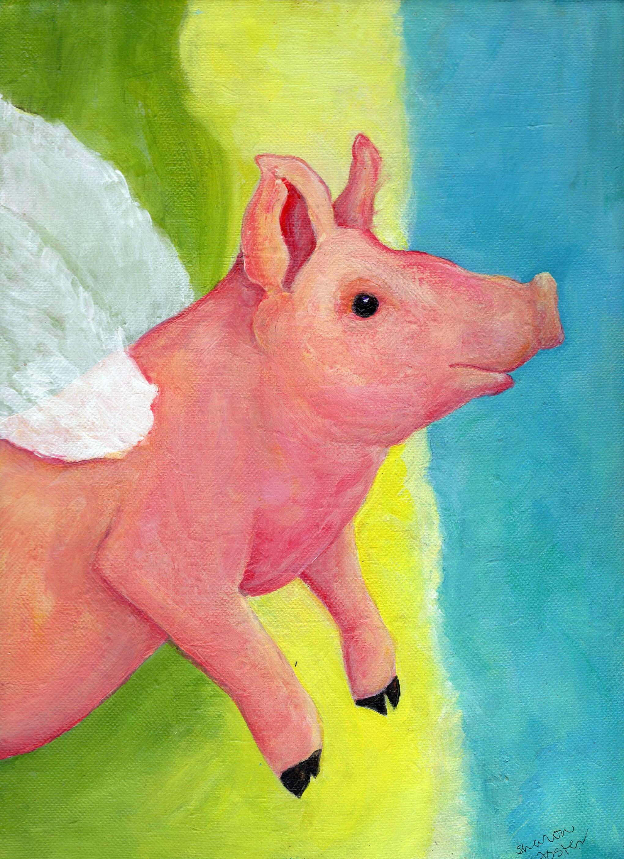 Original flying pig acrylic painting canvas art whimsical pig zoom arubaitofo Images
