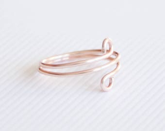 Rose Gold Ring, Minimalist Rose Gold Ring, Wire Rose Gold Ring, Boho Ring, Simple Boho Ring, Adjustable Boho Ring, Rose Gold Wire Twist Ring