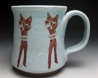 Mustache Mug- Cool Cat- Right Handed