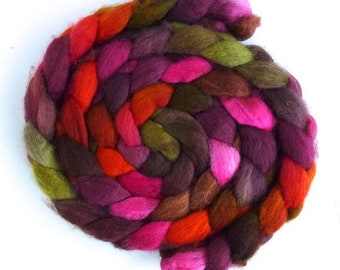 Living Color, BFL Wool Roving - Hand Painted Spinning or Felting Fiber