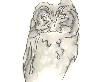 owl art 8X10 giclee print - from the silence - ink drawing, line drawing, bird art