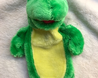 Vintage Green Frog Pyjama Case Soft Toy ORIGINAL FASHY Rare