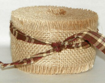 Burlap Ribbon with Frayed Edges 2 1/2 Inch Wide, 10 Yards, 30 feet, Jars, Boxes, Wreaths, Rustic Decor, Garland, Chair Wraps