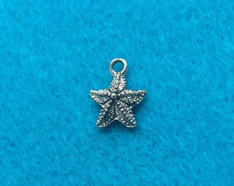 Starfish Charm Antique Silver Plated - TWO (2) Charms - Jewelry Making Beading Supplies