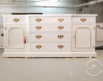 White Credenza with gold leaf accents / buffet table