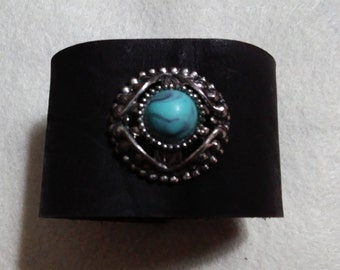 Leather & Turquoise Wrap Cuff Bracelet