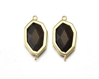 Smoky Topaz Stone Connector . Jewelry Craft Supplies . 16K Matte Gold Plated over Brass  / 2 Pcs - CG017-MG-ST
