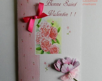 3D card. Valentine card shabby style, customizable original. Hand made