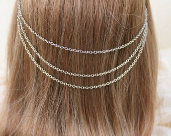 Hair Necklace in Silver - Jewelry