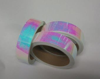 Pearl Tape, Iridescent, Aurora, Pink/Blue, Choose Your Color and Size, Self-Adhesive Tape