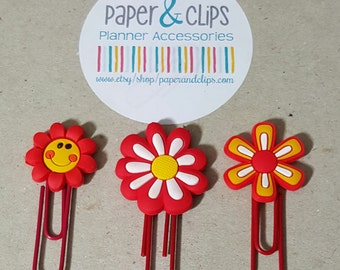 1 Red Flower Paper Clip or Bookmark PVC