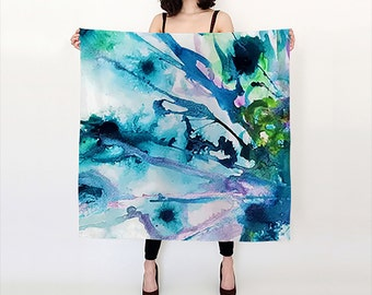 Peacock Scarf Blue decorative scarf gift for girlfriend bridesmaid gift Mother's Day Gift wedding gift Birthday Gift Fashion Accessories