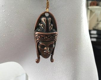 Shaman earrings. Tribal brass earrings. Myan warrior earrings. Vintage earrings, Indian earrings