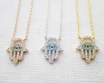Tiny Gold, Rose gold or Silver plated hamsa hand necklace with CZ ...dainty and simple