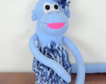Blue Sock Mermonkey, Sock monkey doll, stuffed animal, kids toy, mermaid