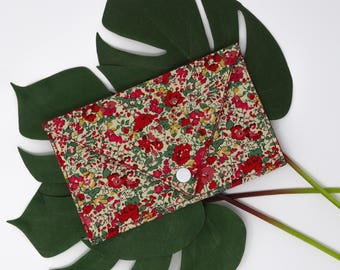 Pocket envelope, worn map Liberty London Claire-Aude B, flowers, red, yellow and green
