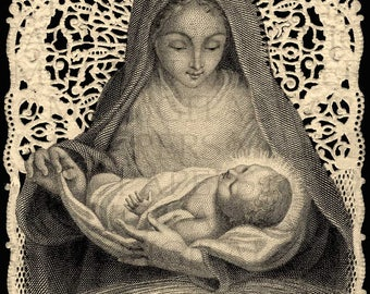 Mary Madonna and Child. Lace Holy Prayer Card. 12 x 18. Digital Paper Download Scrapbooking Supplies. Instant Download. High Resolution