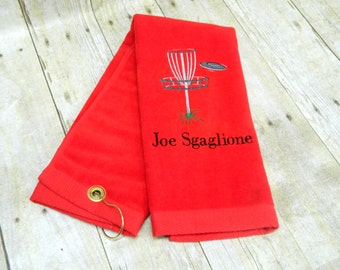 Disc Golf Towel, Personalized Disc Golf Towel, Embroidered Golf Towel, Monogrammed Golf Towel, Personalized Golf Towel, Golf Gift