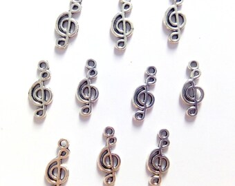 10 music note, treble clef silver charms