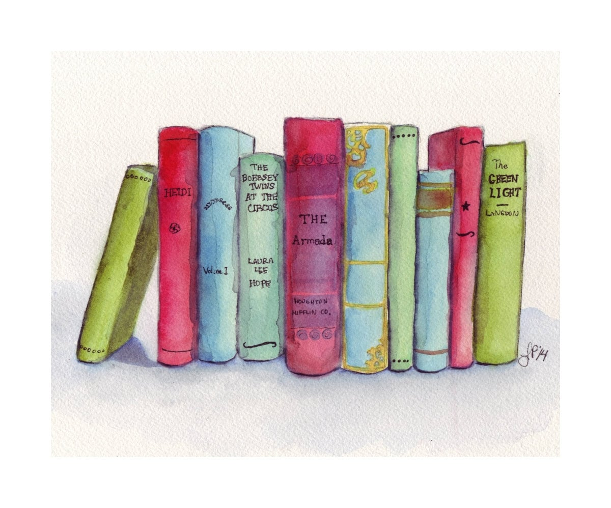 Book Cover Watercolor Art ~ Books watercolor painting print stack of literature
