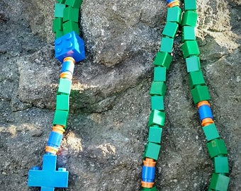 First Communion Gift Rosary Made with Lego® Bricks - Green, Blue and Orange Catholic Rosary