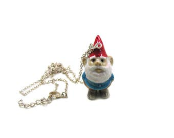 Garden Gnome Necklace, Charm Necklace, Charm Jewelry, Garden Gnome Pendant, Gnome Jewelry, Garden Gnome Charm, Garden Necklace, Gnome Charm