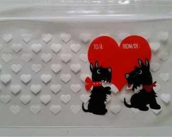 20 Scotty dog ziploc treat bags - heart favour bags - Valentine loot bags - birthday/wedding/engagement party bags - wedding favour bags