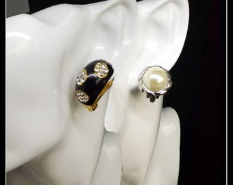 Vintage metal gold and black, silver and white clip-on earrings, two pairs
