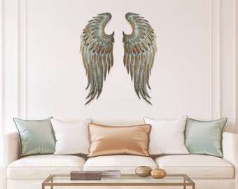 Oversize Metal Angel Wing Wall Decor| Shabby Chic| Rustic Metal|Ornate Wall Decor|Turquoise & Gold|Angel Wing Art|Nursery and Wedding Decor