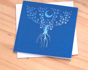 Tree of the Ancestors -  5x5 Card Fantasical tree illustration