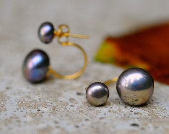 black double pearl earrings, dark pearl double studs, interchangeable pearl studs