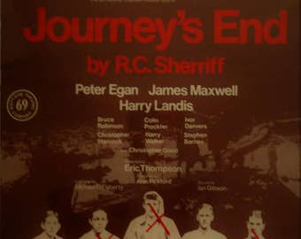 vintage poster RC Sherriff Journeys  End theatre poster director Eric Thompson Starred James Maxwell Peter Egan Harry Landis classic theatre