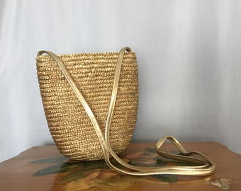 Straw Gold Purse Shoulder Strap Bag Vintage Purse