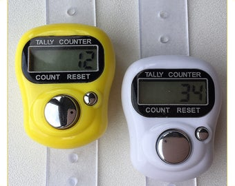 Digital Knitting Row-counter: LCD Tally Counter. 2 Pack (White & Yellow)