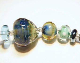 Coordinating Set of Five (5) Lampwork Borosilicate Beads: Purple and Shades of Blues and Greens -- Lot 4D