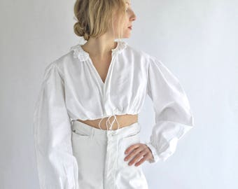 Vintage White Puff Sleeve Shirt | Crochet Crop Folk Blouse | Ruffle Cotton Puffy Puff Pouf Sleeves | Birkin Bardot Provence Romantic