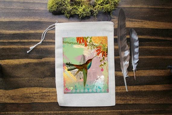Hummingbird Muslin Bags - Art Bag - Pouch - Gift Bag - 5x7 bag - Party Favor - Packaging