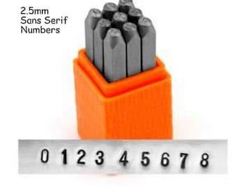 ImpressArt 2.5mm Sans Serif Numbers, Economy Metal Stamp Set, Basic Numbers Stamps, For Soft Metals