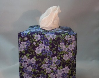 Ready To Ship - Shades of Blue Flowers - Tissue Box Cover