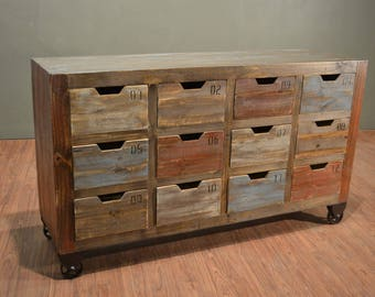 Industrial Rustic Solid Reclaimed wood Console / Sideboard / Media Stand with multiple utility drawers on wheels