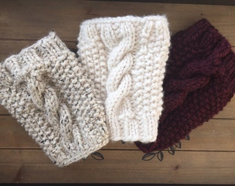 Boot Cuffs, Cable Knit Boot Cuffs, Hand Knit Boot Cuffs, Leg Warmers, Boot Toppers.