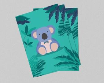 Displays green koala for child's bedroom - immediate download