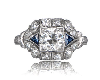 Vintage Style Diamond and Sapphire Engagement Ring - (1.10-carats) - Estate Engagement Ring Collection