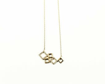 14K Gold Geometric Necklace, 14K Gold Chain Necklace, Geometric Charm Necklace, Geometric Pendant