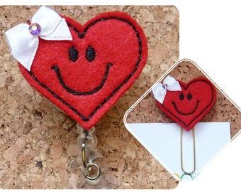 HEART Badge Reel, Paperclip, Magnet, ID Badge Reel, Valentine Felt Badge Reel, Retractable Name Holder, Magnet, Pin, Bookmark,, 133