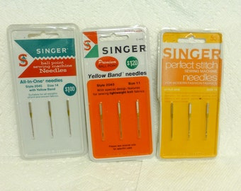 Three Packs of Vintage Singer Ball Point Sewing Machine Needles Size 11 and 14