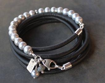 Boho Pearl Leather Bracelet - Multi wrap bohemian bracelet with freshwater pearls and darkened sterling silver, stacking bracelet, boho gift