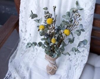 Billy Buttons Bouquet: Dried Flower | Dry Flower | Dried Flower Arrange | Rustic Wedding | Home Decor | Vase Filler