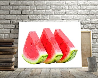 Fine Art Print,  art print three slices of watermelon, painting art, wall art print, print modern
